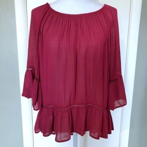 4/$20 Fever Red Boho Peasant Long Sleeve Blouse